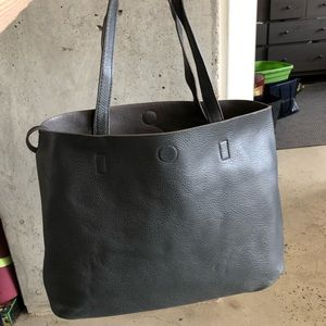 Reversible Faux Leather Grey Tote Bag